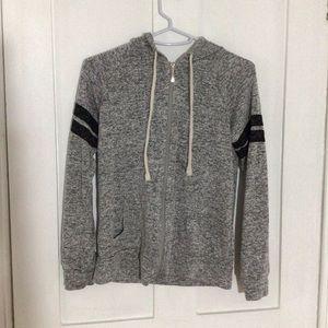 Thin Grey 2 Stripe Zip Up Hoodie - Bluenotes